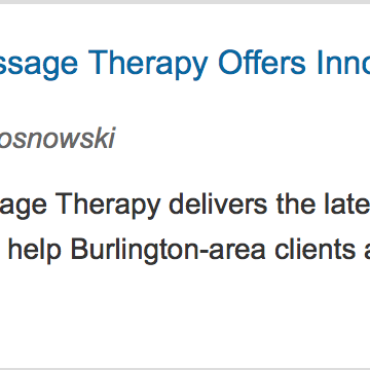 Brilliant Massage Therapy at Vermont State Homes Blog + Thanksgiving, Black Friday and Cyber Monday!
